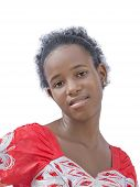 picture of teen pony tail  - Natural Afro beauty wearing an embroidered dress - JPG