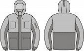 stock photo of hoods  - Vector illustration of winter work hooded jacket - JPG