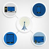 picture of antenna  - Various electronic equipment connected by wireless signal from an antenna - JPG