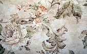 picture of shabby chic  - Vintage shabby chic wallpaper with floral victorian pattern and craquelure - JPG