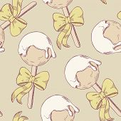 image of cake pop  - Cake pops with bow seamless pattern - JPG
