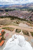 foto of mary  - View of the Virgin Mary statue high on a hill with the town of Concepcion Peru below it