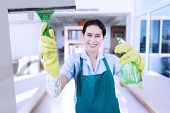 stock photo of maids  - Portrait of friendly maid wearing uniform and apron cleaning a mirror with a spray while smiling - JPG
