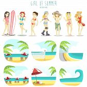 image of six pack  - the Girl of summer vector pack with seven fashion style and six background - JPG