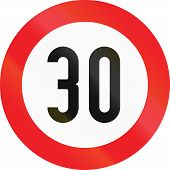 stock photo of traffic rules  - Austrian traffic sign restricting speed to 30 kilometers per hour - JPG