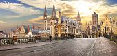stock photo of gents  - beutiful medievla Gent over sunset - JPG