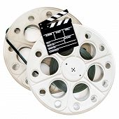 picture of mm  - Movie clapper on two 35 mm cinema reels with film isolated on white background - JPG