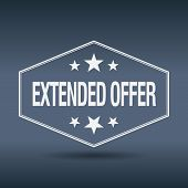 stock photo of extend  - extended offer hexagonal white vintage retro style label - JPG