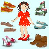 foto of big-foot  - little girl trying on big shoes a lot of different footwear - JPG