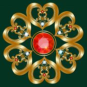 picture of brooch  - The golden brooch in the shape of a flower with diamonds and rubies - JPG