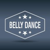 stock photo of belly-dance  - belly dance hexagonal white vintage retro style label - JPG