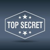 stock photo of top-secret  - top secret hexagonal white vintage retro style label - JPG