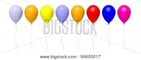Group of colorful blank balloons in a row isolated on white