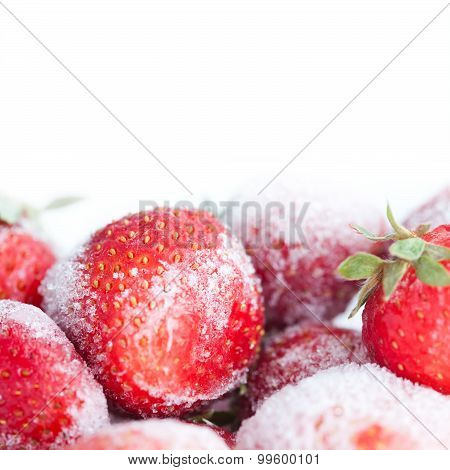 Frozen Strawberry On The White Background
