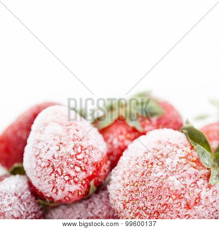 Frozen Red Strawberries. Copy Space. White Background