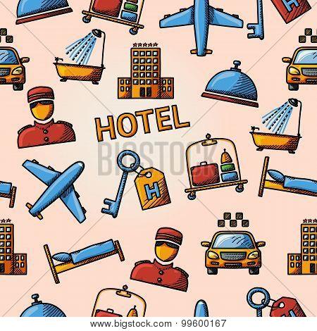 Seamless hotel handdrawn pattern