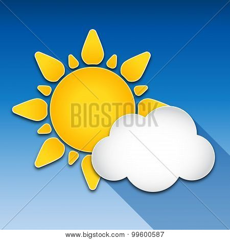 Sun And Cloud With Long Shadow, Vector