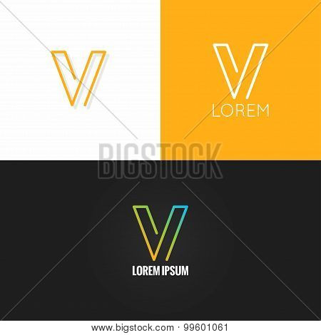 letter V logo alphabet design icon set background
