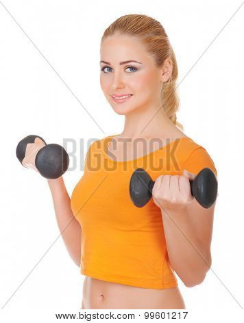 Young woman with dumbbells isolated