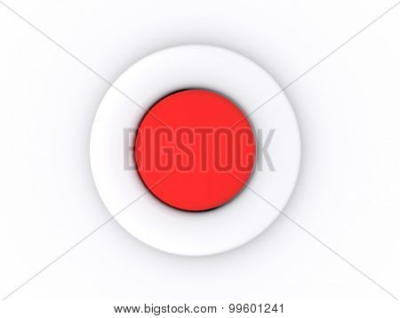 round red button isolated on white background. 3D icon