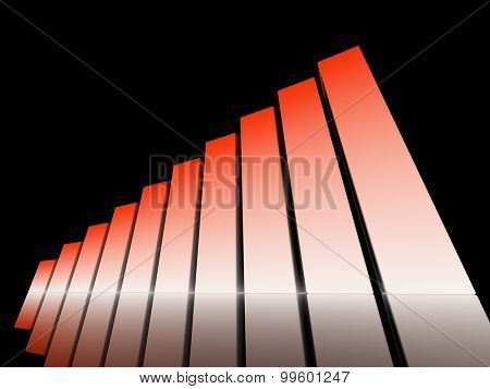 chart success of red and white cubes on a black background. 3d