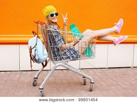 Fashion Smiling Hipster Woman Having Fun Wearing A Sunglasses With Skateboard And Backpack Sitting I