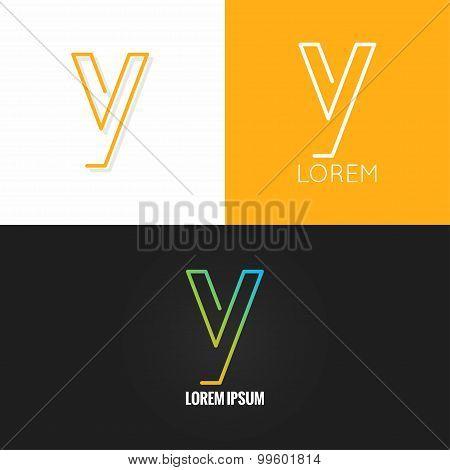letter Y logo alphabet design icon set background