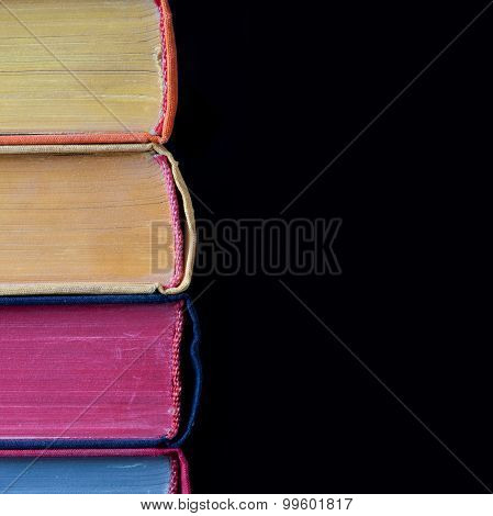 Colorful Book. Hard Cover. Black Background. Isolated