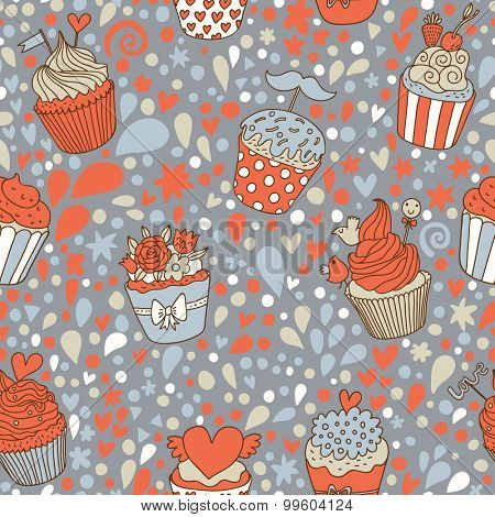 Sweet concept seamless pattern. Tasty background made of lovely cupcakes. Seamless pattern can be used for wallpaper, pattern fills, web page backgrounds, surface textures