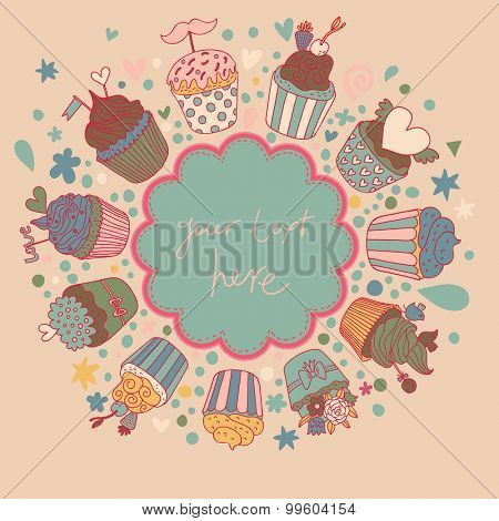 Tasty card made of cupcakes in vintage colors. Sweet invitation. Cartoon vector background