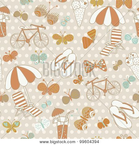 Lovely seamless pattern with summer elements. Beach party vector background. Can be used for party invitations, textile for swimwear, summer bags