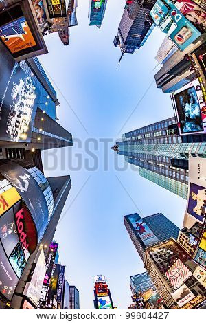times square perspective with sky in late afternoon