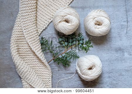 Three Skeins Of Yarn For Knitting A Scarf