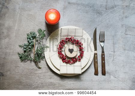Decorated Christmas Dinner Table Setting