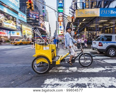 Man Offers Taxi Services With His Rickshaw In New York