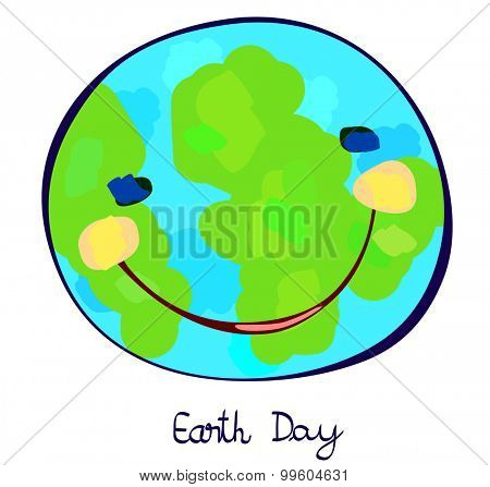 earth day, earth planet celebration day, childlike painting