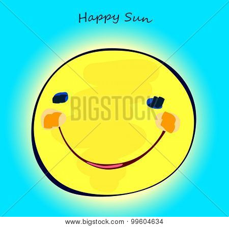 happy sun on light blue sky, childlike painting