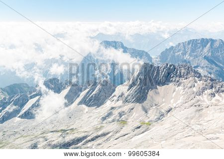 Landscape of Alpine Alps mountain view from Zugspitze top of Germany
