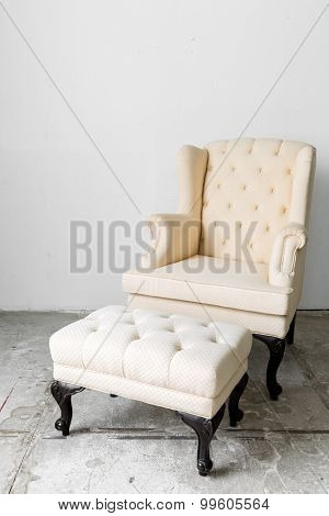 beige Retro Classic fabric style chair