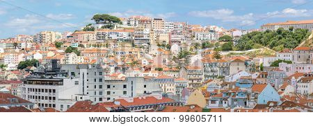 Panorama of Cityscape of Lisbon capital city of Portugal