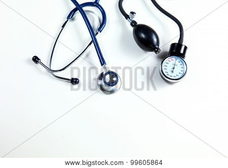 Blood pressure meter and stethoscope, isolated on white
