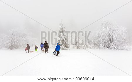 People Enjoy The Snow And Winter Area At The Feldberg In Hesse