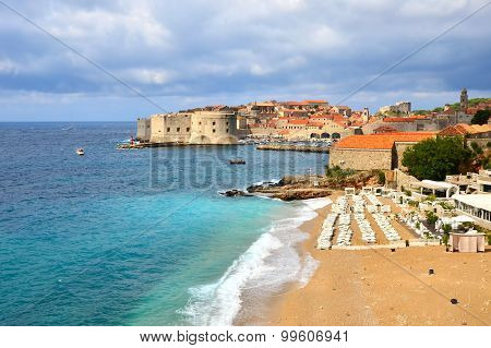Beaches and old town of Dubrovnik, Croatia