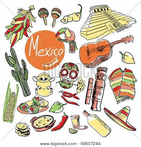 Vector set of tourist attractions Mexico.