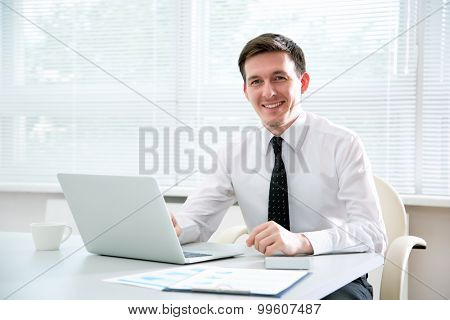 Handsome young businessman working at laptop in office.