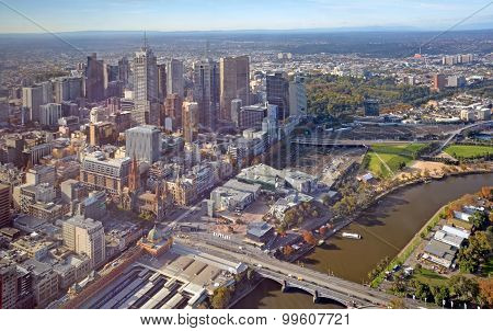Aerial View Of Melbourne City & The Yarra River