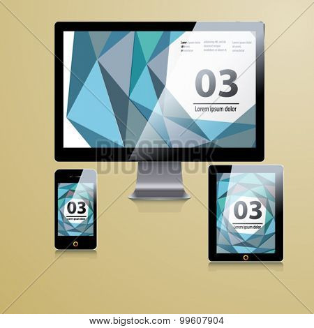 Modern application template design for corporate identity with statistics and infographics. ?omputer tablet and phone set.