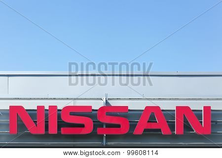 Nissan logo on a facade