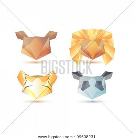Business Design elements ( icon ) set for print and web business artwork. Poligon geometry amimals.