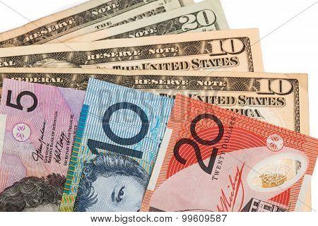 Closeup Of Australian Dollar And American Us Dollar